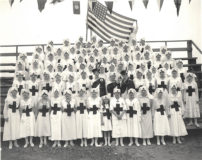 Red Cross Nurses Photographed At The Amoskeag Red Cross Carnival At Manchester's Textile Field (now Gill Stadium) In 1918 Alt.
